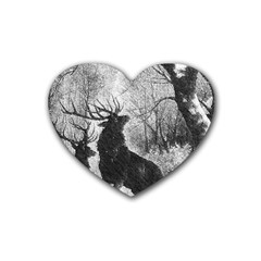 Stag Deer Forest Winter Christmas Rubber Coaster (heart)
