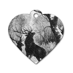 Stag Deer Forest Winter Christmas Dog Tag Heart (two Sides)