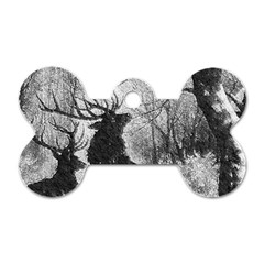 Stag Deer Forest Winter Christmas Dog Tag Bone (Two Sides)