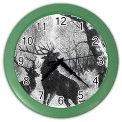 Stag Deer Forest Winter Christmas Color Wall Clocks