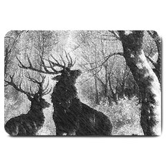 Stag Deer Forest Winter Christmas Large Doormat