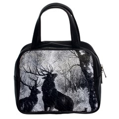 Stag Deer Forest Winter Christmas Classic Handbags (2 Sides)