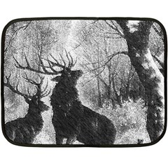 Stag Deer Forest Winter Christmas Double Sided Fleece Blanket (Mini)