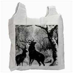 Stag Deer Forest Winter Christmas Recycle Bag (two Side)