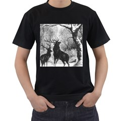 Stag Deer Forest Winter Christmas Men s T Shirt (black)
