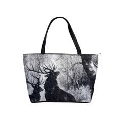 Stag Deer Forest Winter Christmas Shoulder Handbags