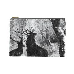Stag Deer Forest Winter Christmas Cosmetic Bag (large)