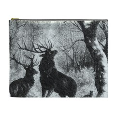 Stag Deer Forest Winter Christmas Cosmetic Bag (XL)