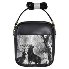 Stag Deer Forest Winter Christmas Girls Sling Bags