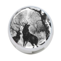 Stag Deer Forest Winter Christmas 4-Port USB Hub (Two Sides)
