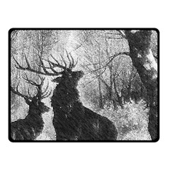Stag Deer Forest Winter Christmas Fleece Blanket (Small)