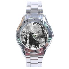 Stag Deer Forest Winter Christmas Stainless Steel Analogue Watch