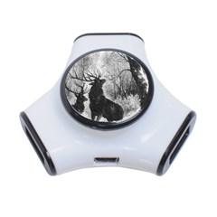 Stag Deer Forest Winter Christmas 3 Port Usb Hub