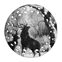 Stag Deer Forest Winter Christmas Round Filigree Ornament (Two Sides)