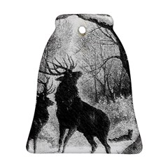 Stag Deer Forest Winter Christmas Bell Ornament (two Sides)