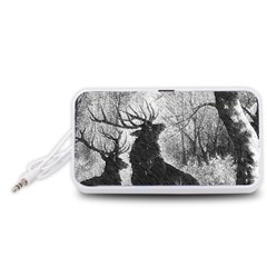 Stag Deer Forest Winter Christmas Portable Speaker (White)