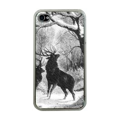 Stag Deer Forest Winter Christmas Apple Iphone 4 Case (clear)
