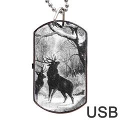 Stag Deer Forest Winter Christmas Dog Tag Usb Flash (one Side)