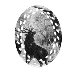 Stag Deer Forest Winter Christmas Oval Filigree Ornament (two Sides)