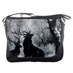 Stag Deer Forest Winter Christmas Messenger Bags