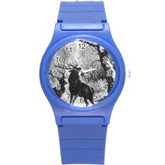 Stag Deer Forest Winter Christmas Round Plastic Sport Watch (s)