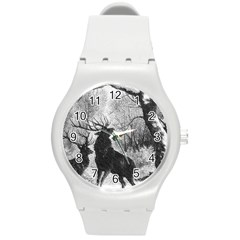 Stag Deer Forest Winter Christmas Round Plastic Sport Watch (m)