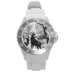 Stag Deer Forest Winter Christmas Round Plastic Sport Watch (L)
