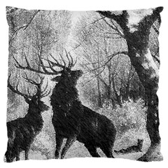 Stag Deer Forest Winter Christmas Large Cushion Case (two Sides)