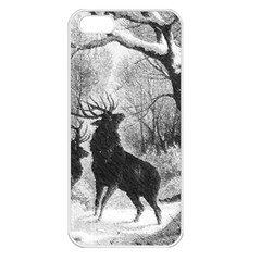 Stag Deer Forest Winter Christmas Apple Iphone 5 Seamless Case (white)