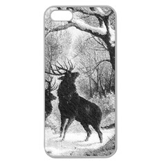 Stag Deer Forest Winter Christmas Apple Seamless iPhone 5 Case (Clear)