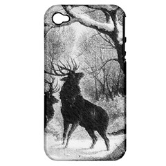 Stag Deer Forest Winter Christmas Apple Iphone 4/4s Hardshell Case (pc+silicone)