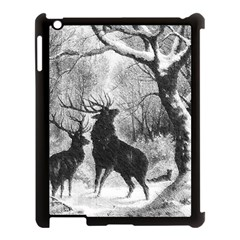 Stag Deer Forest Winter Christmas Apple Ipad 3/4 Case (black)