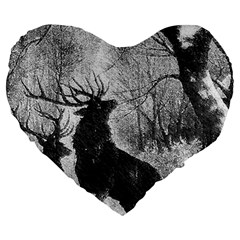Stag Deer Forest Winter Christmas Large 19  Premium Heart Shape Cushions