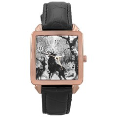 Stag Deer Forest Winter Christmas Rose Gold Leather Watch