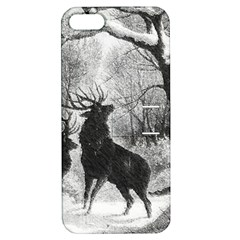 Stag Deer Forest Winter Christmas Apple Iphone 5 Hardshell Case With Stand
