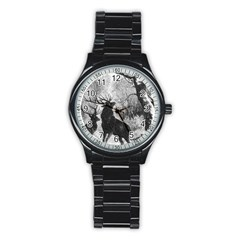 Stag Deer Forest Winter Christmas Stainless Steel Round Watch
