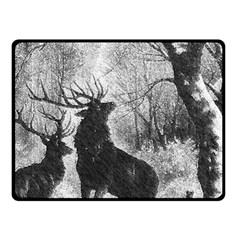 Stag Deer Forest Winter Christmas Double Sided Fleece Blanket (small)