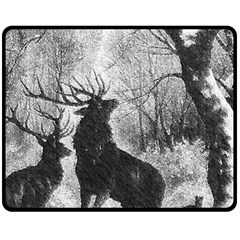 Stag Deer Forest Winter Christmas Double Sided Fleece Blanket (medium)