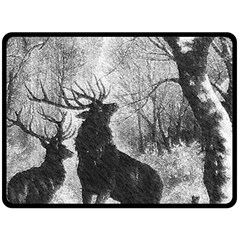 Stag Deer Forest Winter Christmas Double Sided Fleece Blanket (large)