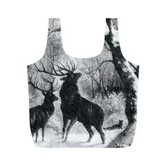 Stag Deer Forest Winter Christmas Full Print Recycle Bags (m)