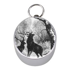 Stag Deer Forest Winter Christmas Mini Silver Compasses