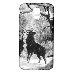 Stag Deer Forest Winter Christmas Samsung Galaxy S5 Back Case (white)