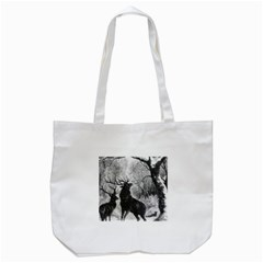 Stag Deer Forest Winter Christmas Tote Bag (white)