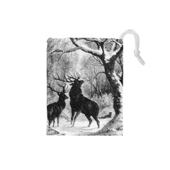 Stag Deer Forest Winter Christmas Drawstring Pouches (small)