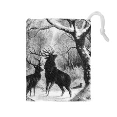 Stag Deer Forest Winter Christmas Drawstring Pouches (large)