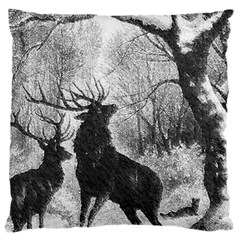 Stag Deer Forest Winter Christmas Large Flano Cushion Case (two Sides)