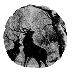 Stag Deer Forest Winter Christmas Large 18  Premium Flano Round Cushions