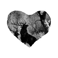 Stag Deer Forest Winter Christmas Standard 16  Premium Flano Heart Shape Cushions