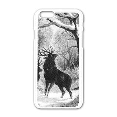 Stag Deer Forest Winter Christmas Apple Iphone 6/6s White Enamel Case