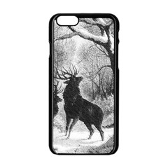 Stag Deer Forest Winter Christmas Apple Iphone 6/6s Black Enamel Case